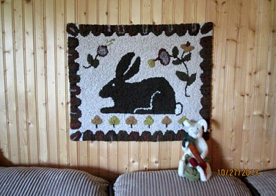 Peter Rabbit hooked by Beverly Matthews  along with hand felted rabbit
