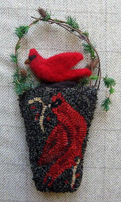"Cardinal Pocket Hooked pocket with felted bird (approximately 9"" long)"
