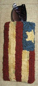 """Flag Eyeglass Case lined with snap closure 7"""" x 3½"""" $55"""