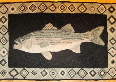 Striper Rug hooked by Lynn Douglas - her own design (they love fishing!)