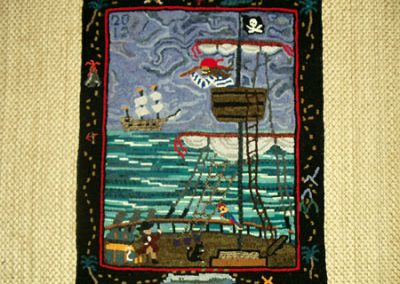 "Pirate 20""x25"" design and hooked by Lucy Walsh"