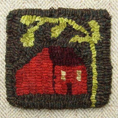"""Small House Mug Rug 4"""" x 4"""" $10.50"""