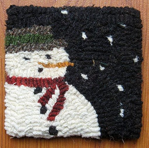 "Snowman Mug Rug 4""x 4"" $10.50"