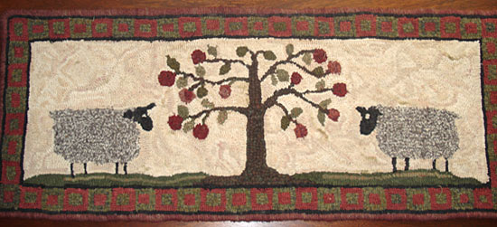 Tree of Life with Sheep - Hooked by Joan Worthington