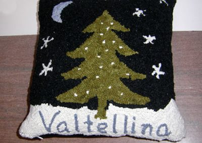 Wintertime at Night hooked by Cindy Kadel,  a gift for friends living in Valtellina in the Italian Alps