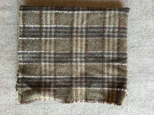 Brown Plaid Textured Wool
