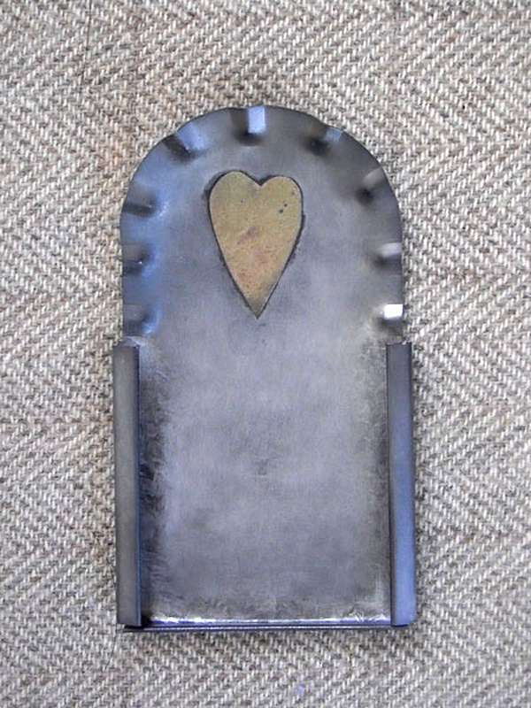"Fluted Heart Tin Frame 4½"" x 2½"" — $20"