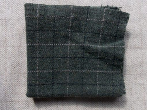 Olive/Black Windowpane Textured Wool