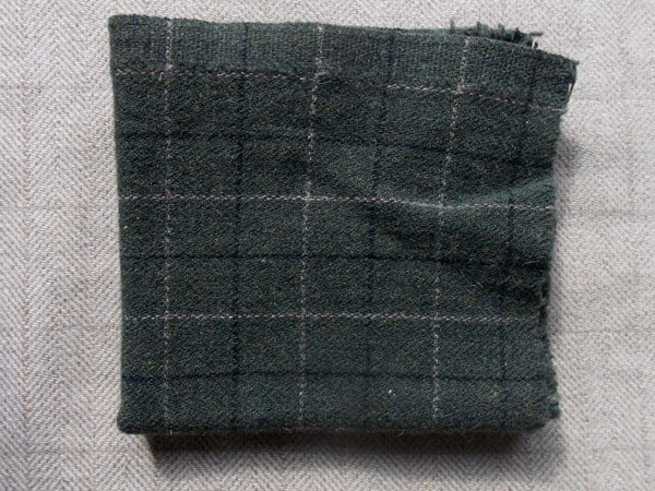 Olive/Black Windowpane Textured Wool
