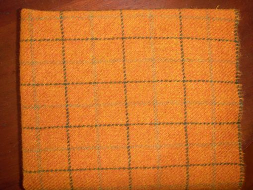 Orange Windowpane Textured Wool