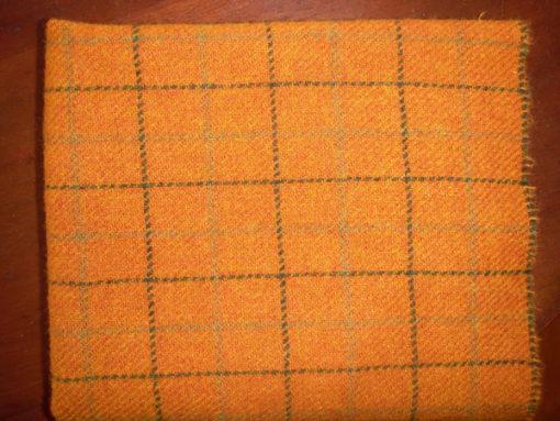 Orange Windowpane Textured Wool