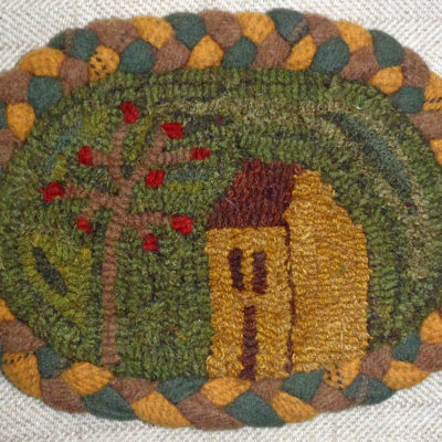 Salt Box and Apple Tree with Braided Border (Dark)