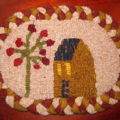 Salt Box and Apple Tree with Braided Border