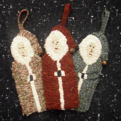"3 Santa Ornaments (includes 3 drawn designs) Approx. 6 1/2"" long"