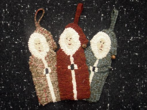 "3 Santa Ornaments (includes 3 drawn designs) Approx. 6 1/2"" long"