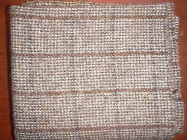 Blue and Tan Check Textured Wool