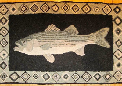 Striper Rug hooked by Lynn Douglas – her own design (they love fishing