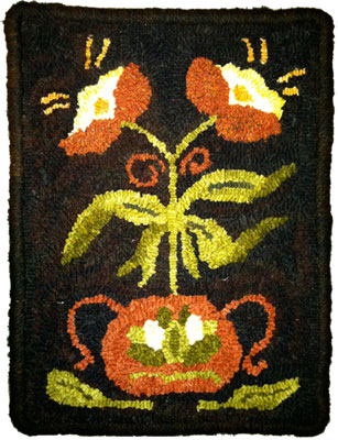 Small Bean Pot hooked by Tina Palombo – her first rug!