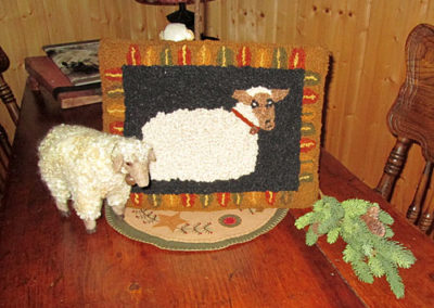 Hooked by Beverly Matthews with sheep felted by Karen